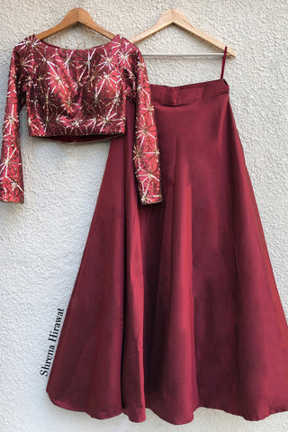 Wine Gold Sequins Blouse With Taffeta Skirt