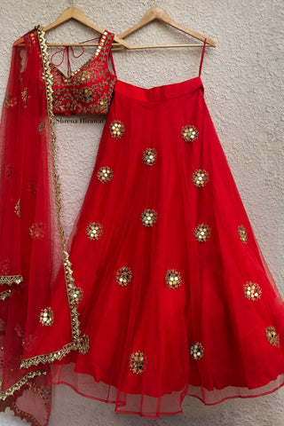 Red Mirror Work Lehenga With Katori Blouse