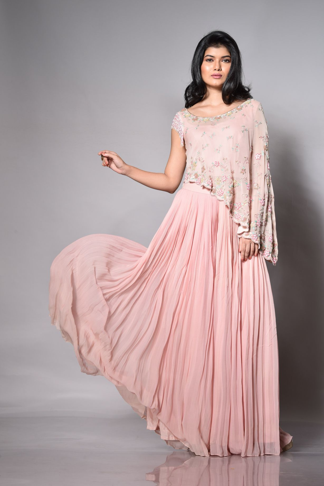 Blush Pink Pleated Palazzo With A Cape Top SIDE