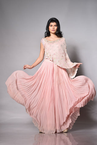 Blush Pink Pleated Palazzo With A Cape Top FRONT