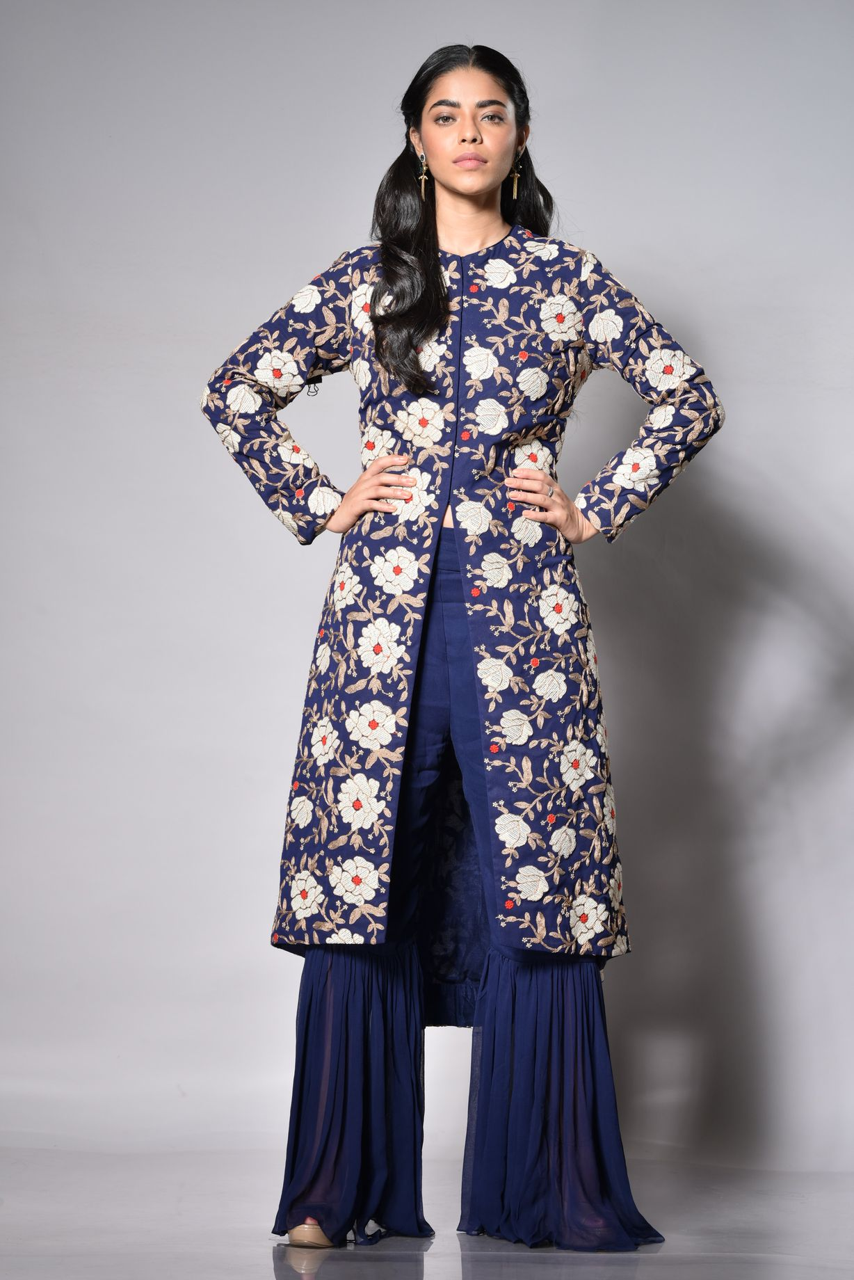 Embroidered Jacket With A Gharara FRONT