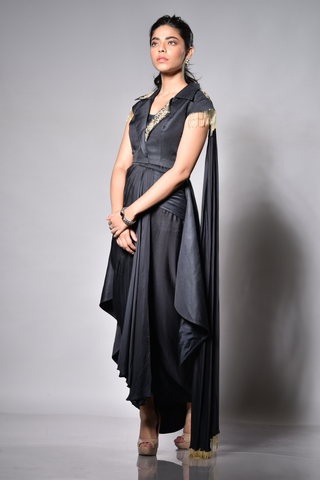 Charcoal Black Silk Jacket Drape Saree