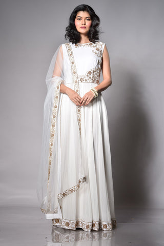 White Floor Length Anarkali FRONT