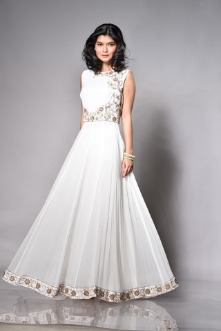 White Floor Length Anarkali