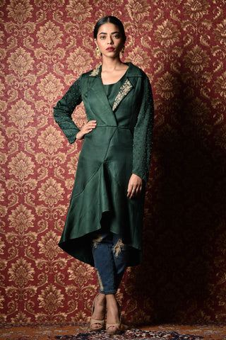 Emerald Green Trench Coat With FRONT