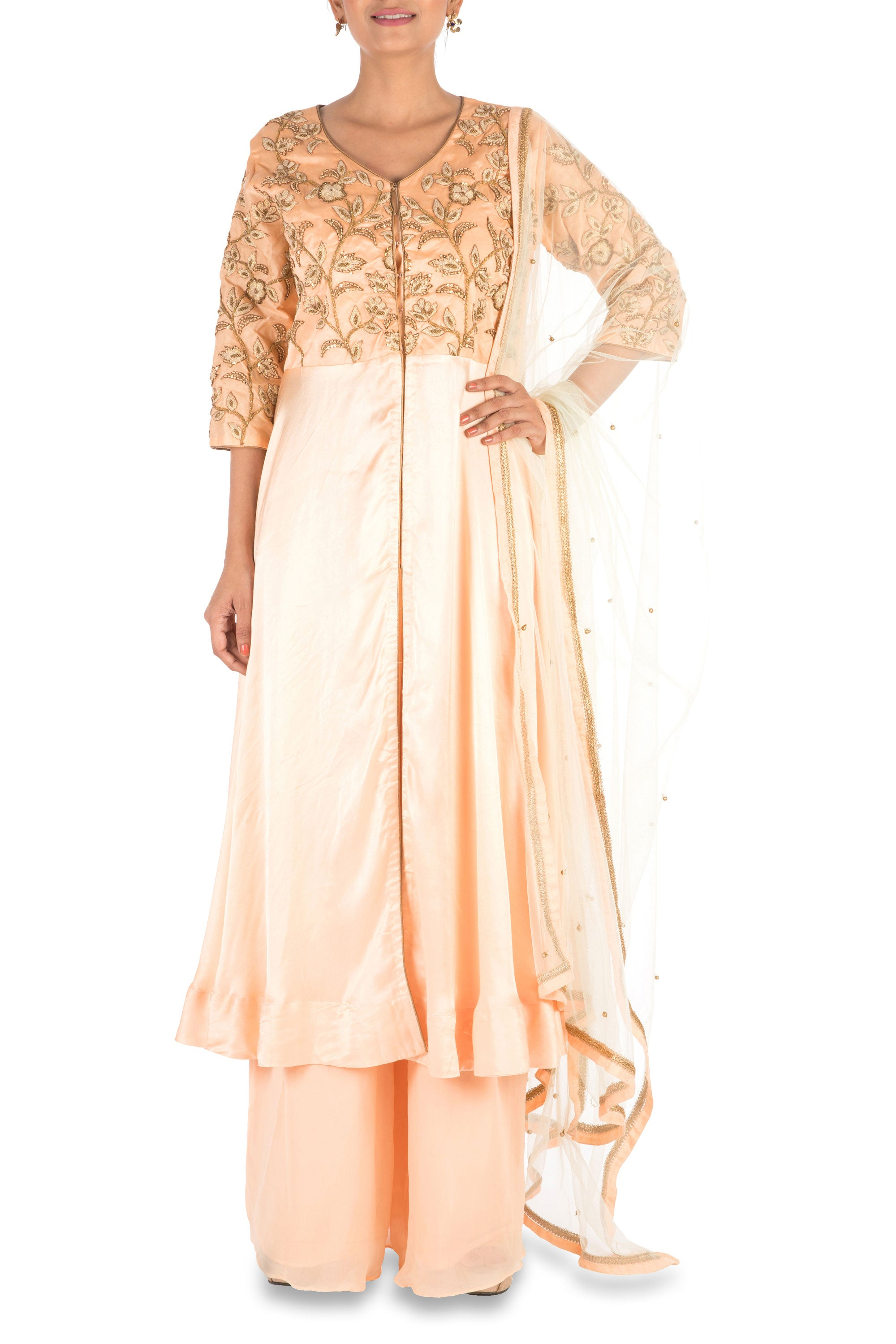 Hand Embroidered  Peach Palazzo Set Front