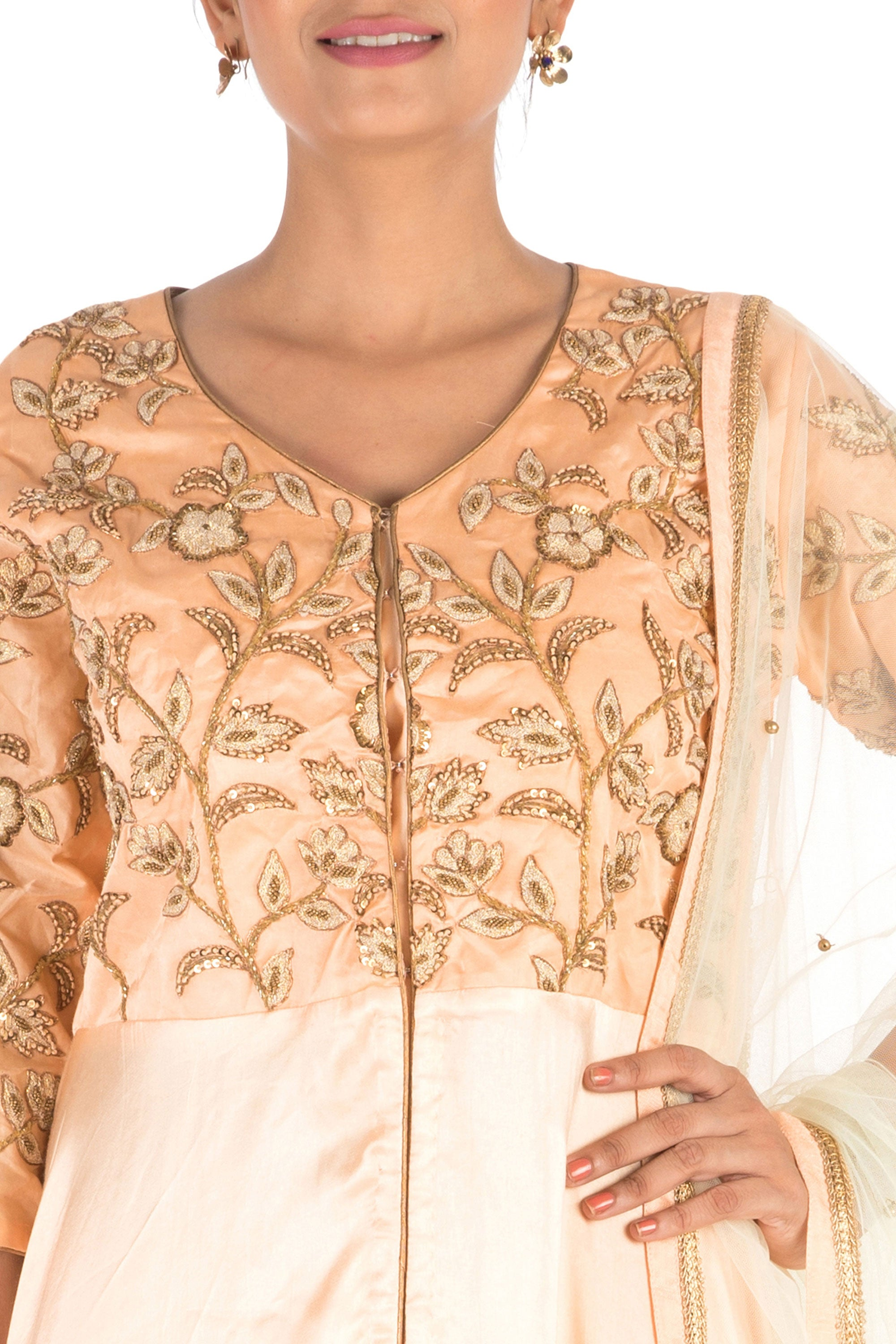 Hand Embroidered  Peach Palazzo Set Closeup