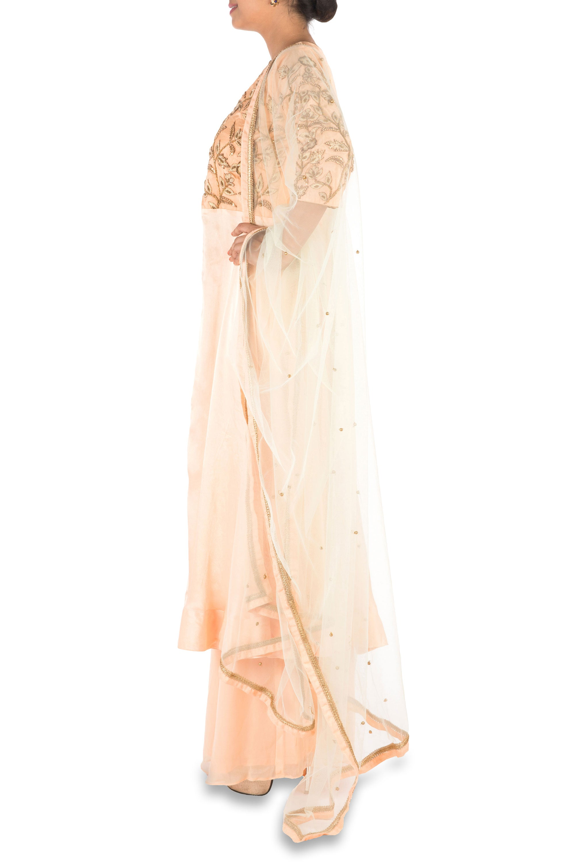 Hand Embroidered  Peach Palazzo Set Side