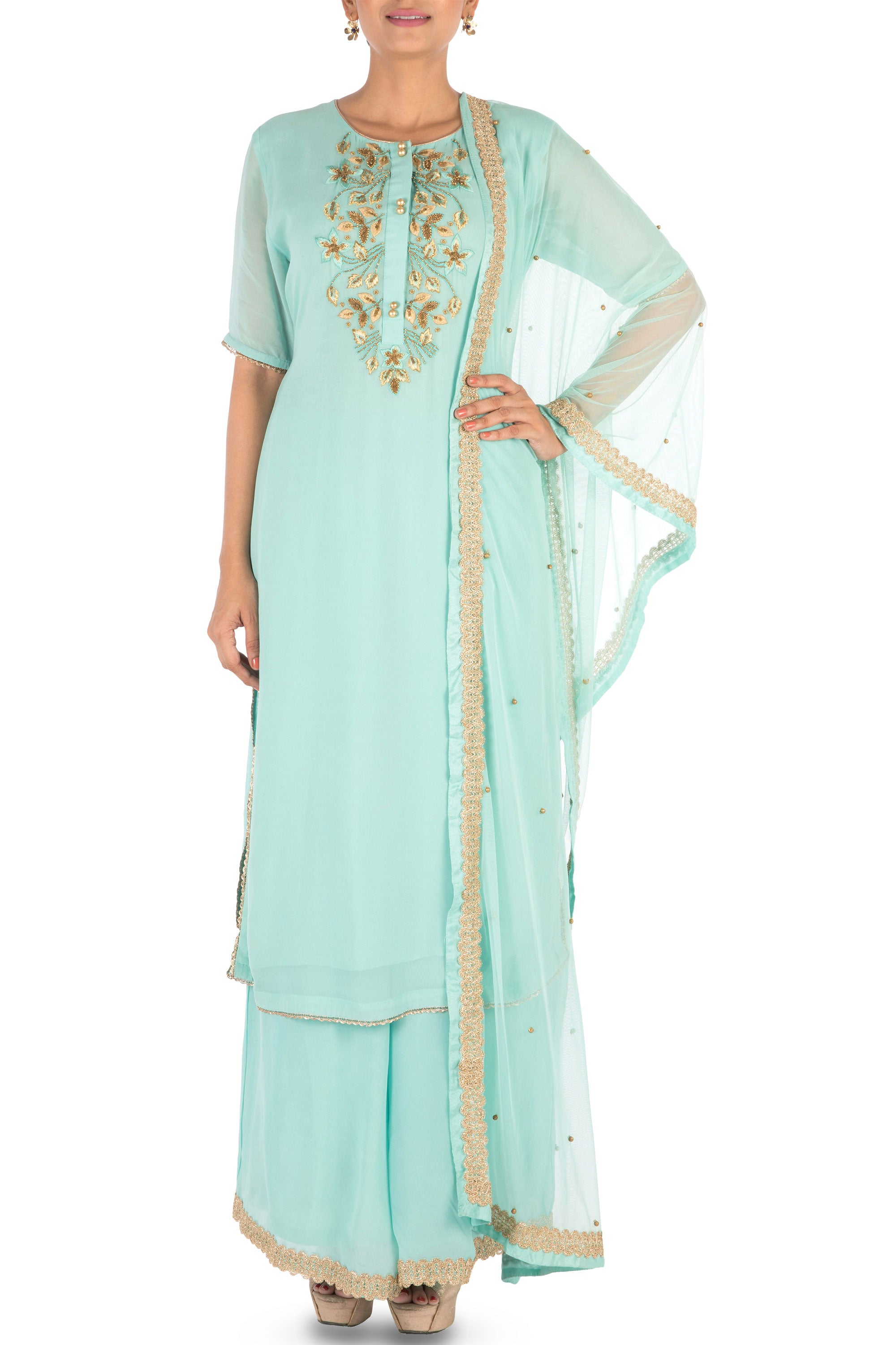 Hand Embroidered  Powder Turquoise Palazzo Set Front