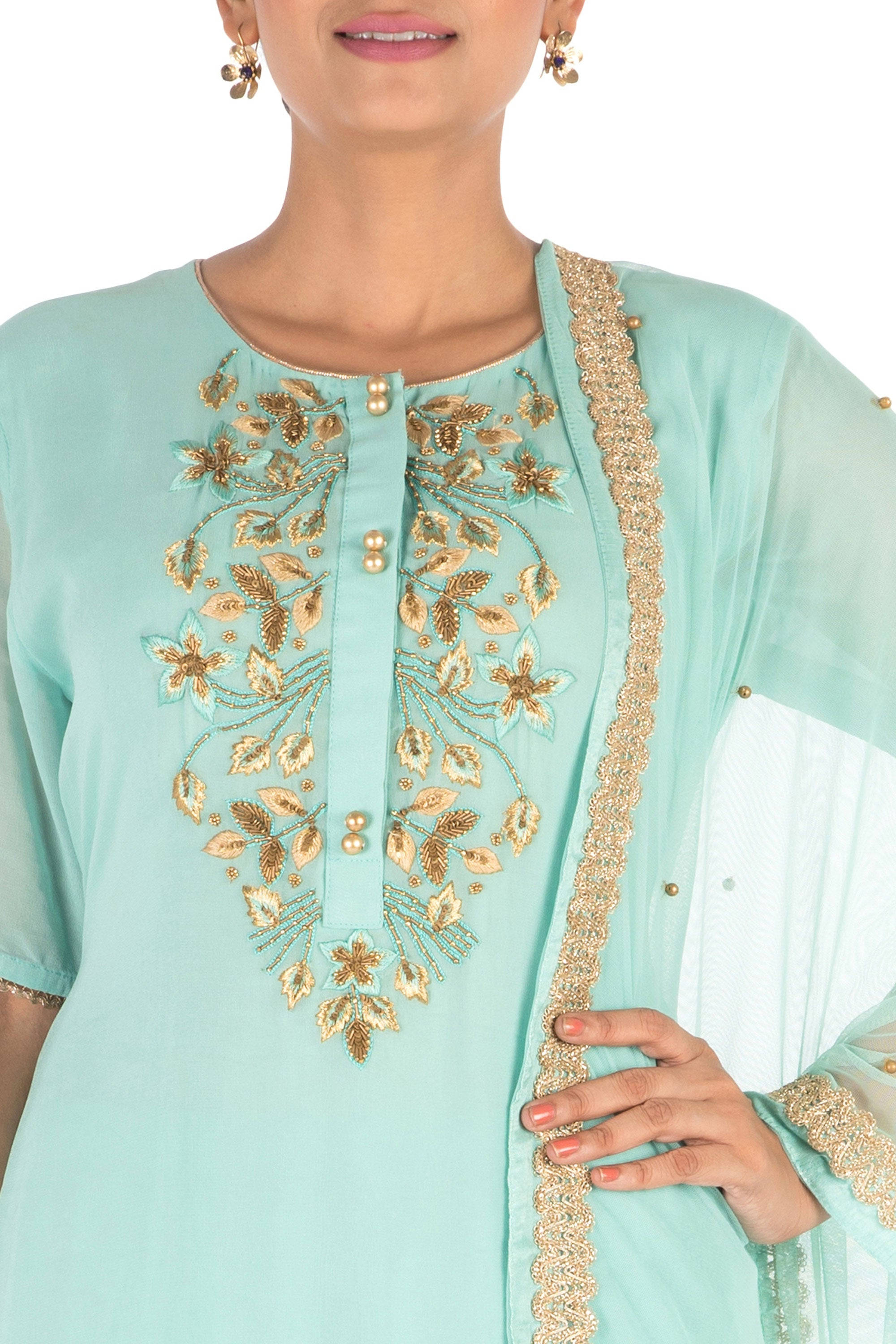 Hand Embroidered  Powder Turquoise Palazzo Set Closeup