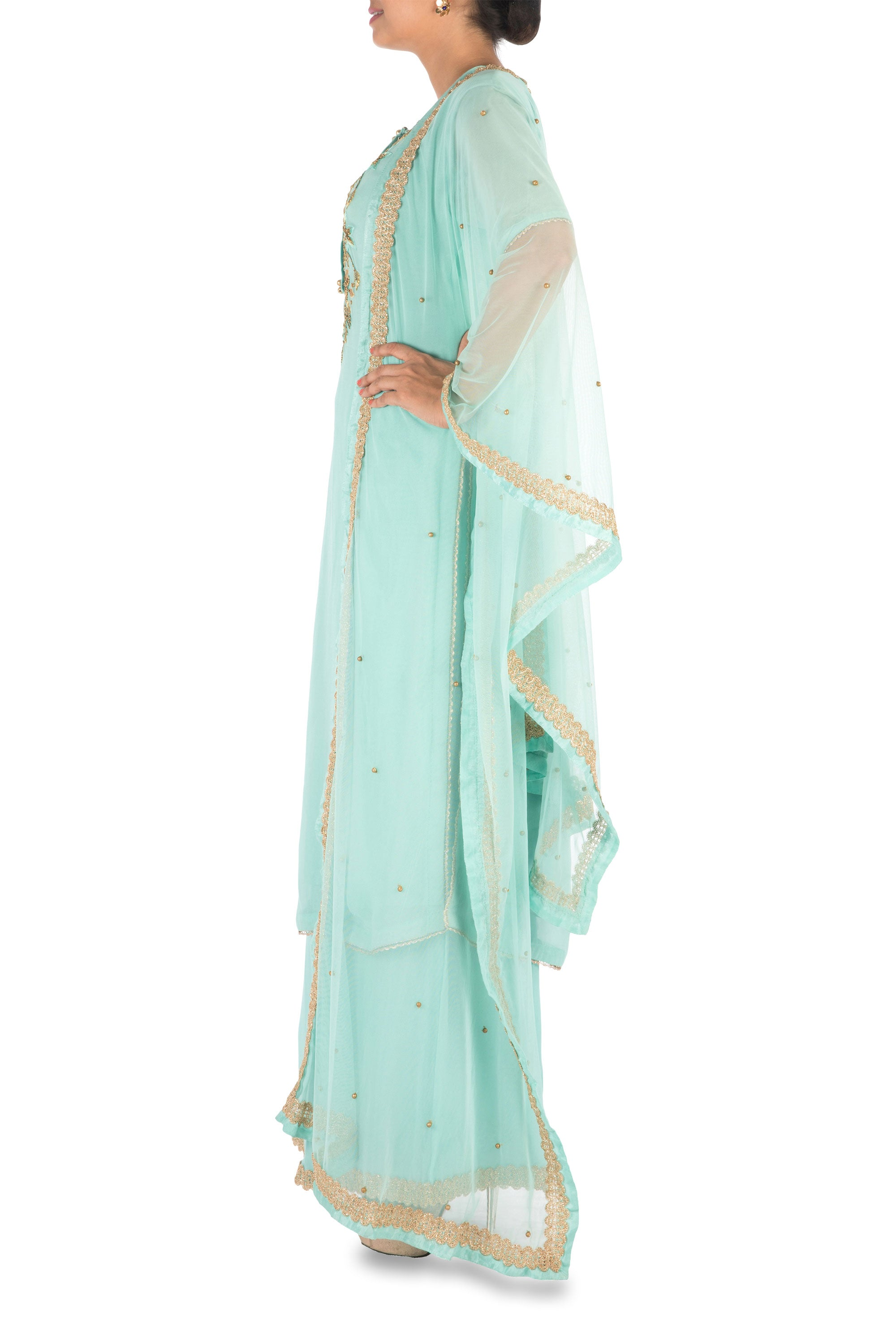 Hand Embroidered  Powder Turquoise Palazzo Set Side