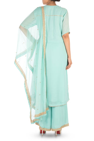 Hand Embroidered  Powder Turquoise Palazzo Set