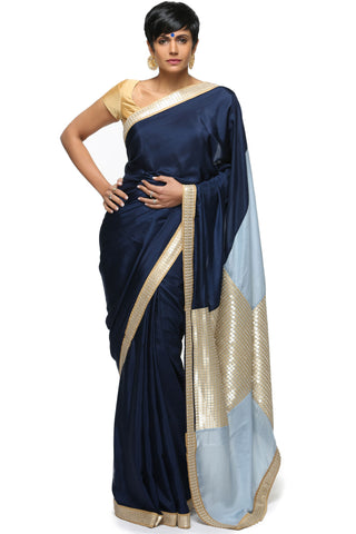 Navy Blue & Light Blue Silk Saree