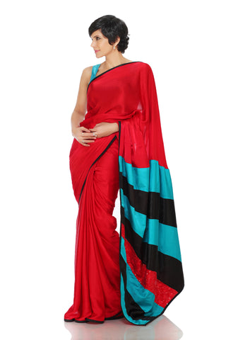 Red Satin & Sequin Saree Front