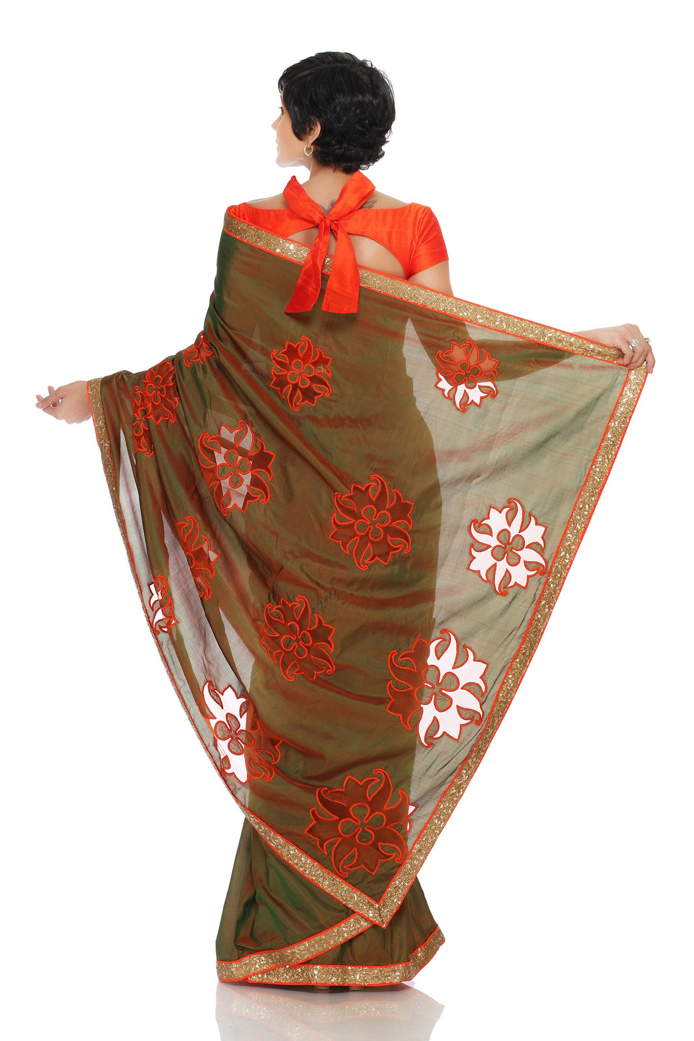 Two Tone Khaki Silk Saree Back