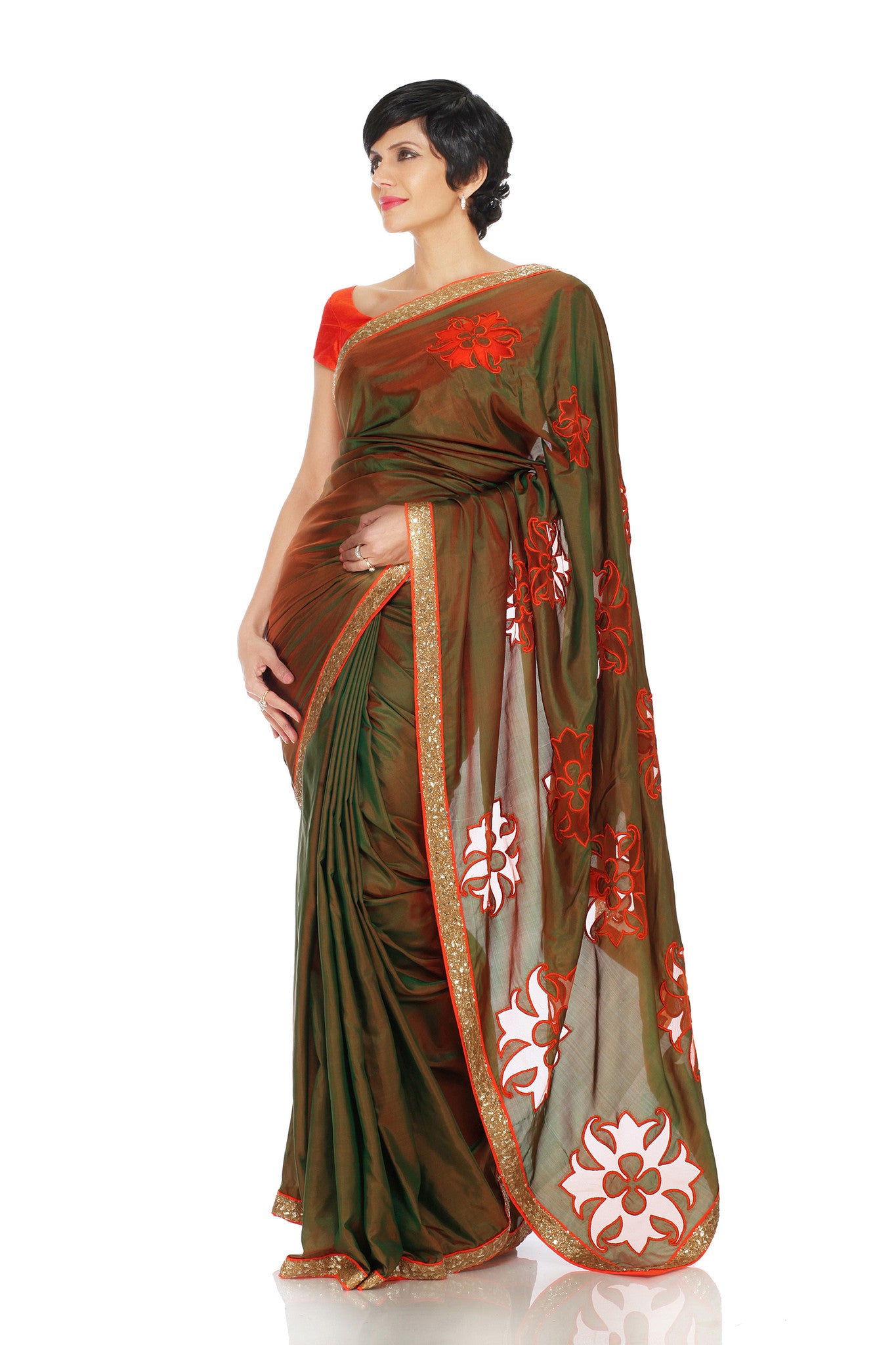 Two Tone Khaki Silk Saree Front