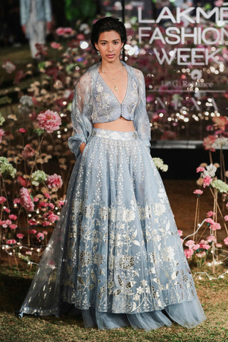 Powder Blue Azha Skirt Set FRONT