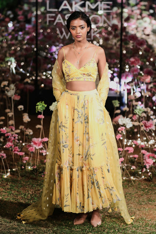 Yellow Menaha Skirt Set FRONT
