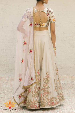 Floral Embroidered Beige Silk Lehenga