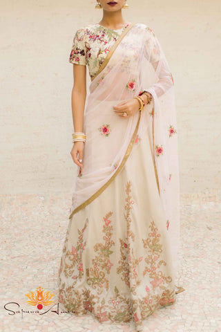 Floral Embroidered Beige Silk Lehenga Front