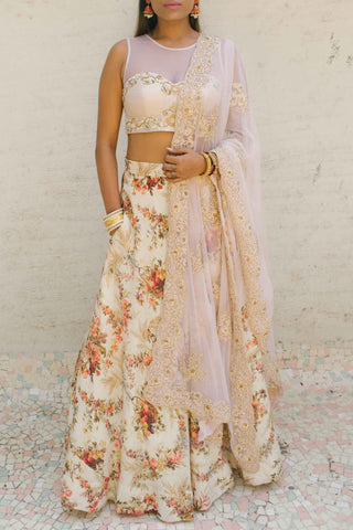 Ivory Raw Silk Skirt Set Front