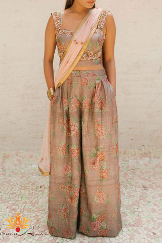 Taupe Tussar Silk Suit Front