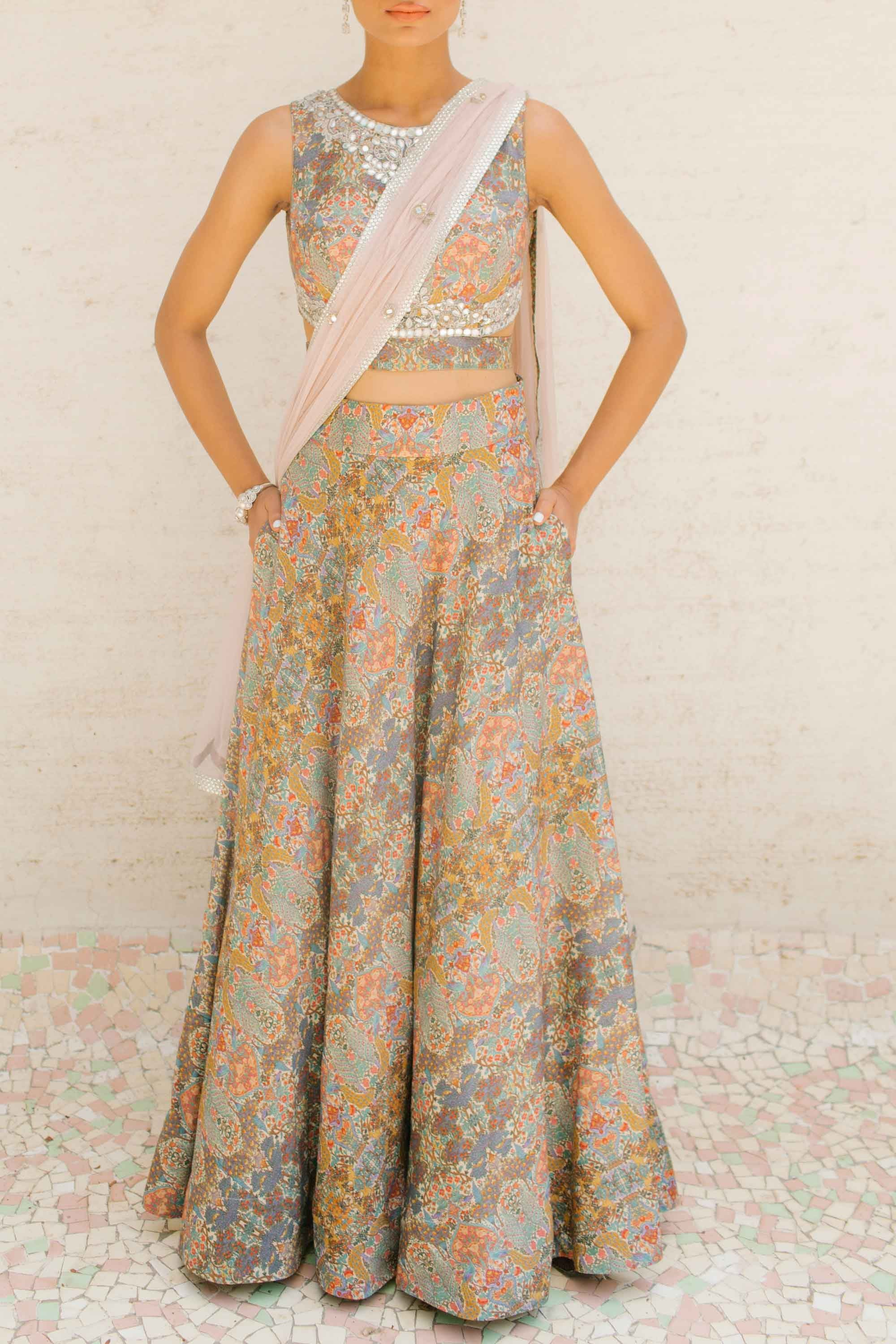 Printed Tussar Silk Skirt Set Front