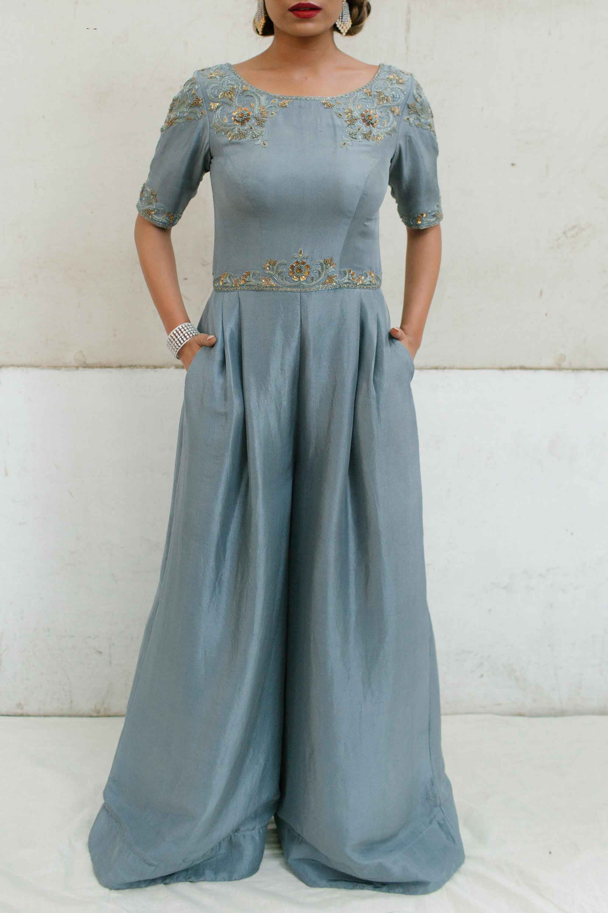 Dusty Blue Dupion Jumpsuit Front