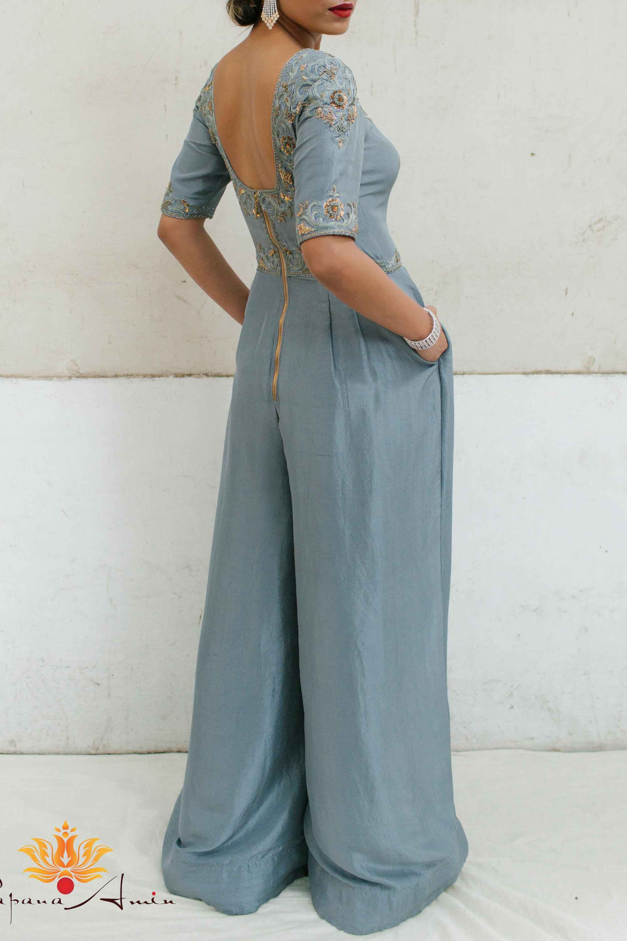 Dusty Blue Dupion Jumpsuit Back