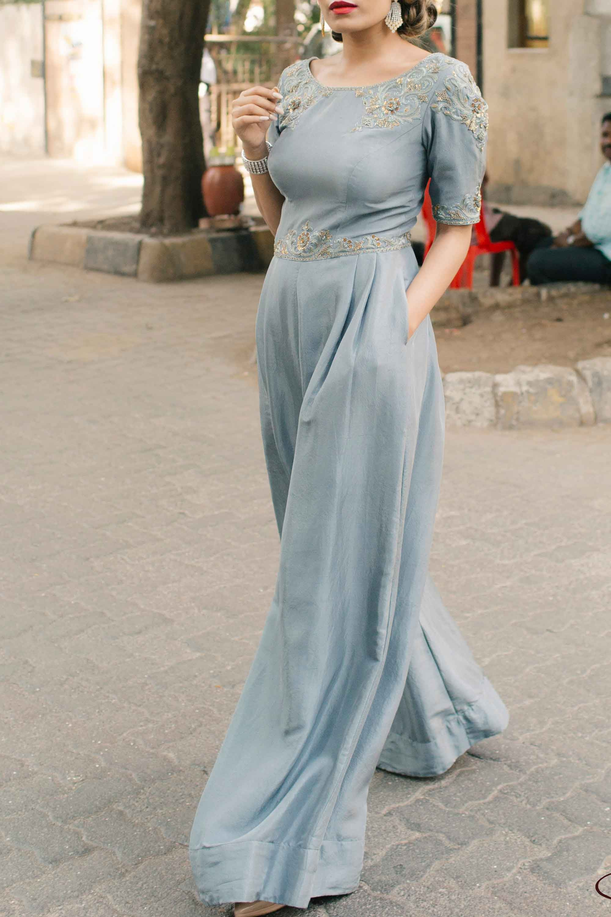 Dusty Blue Dupion Jumpsuit Side