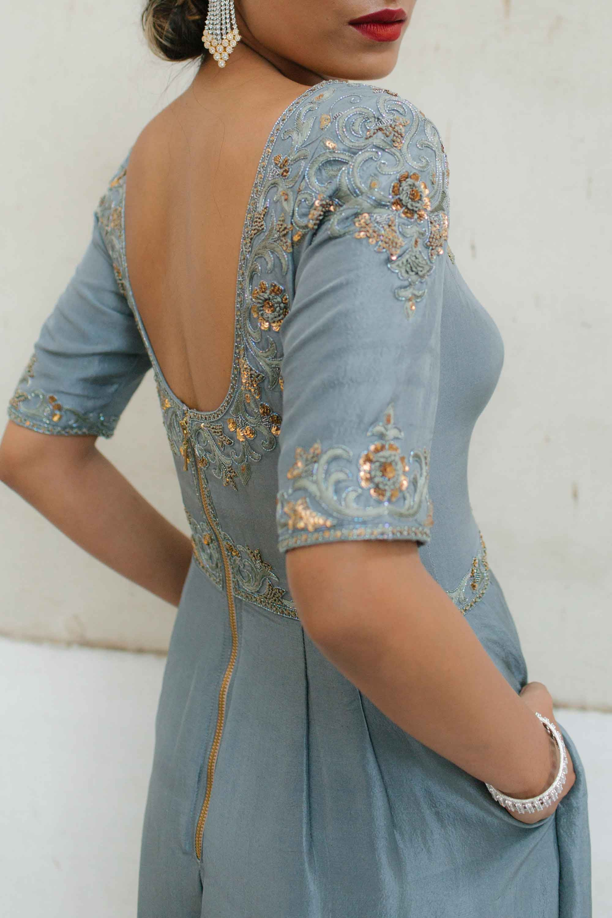 Dusty Blue Dupion Jumpsuit Back CloseUp