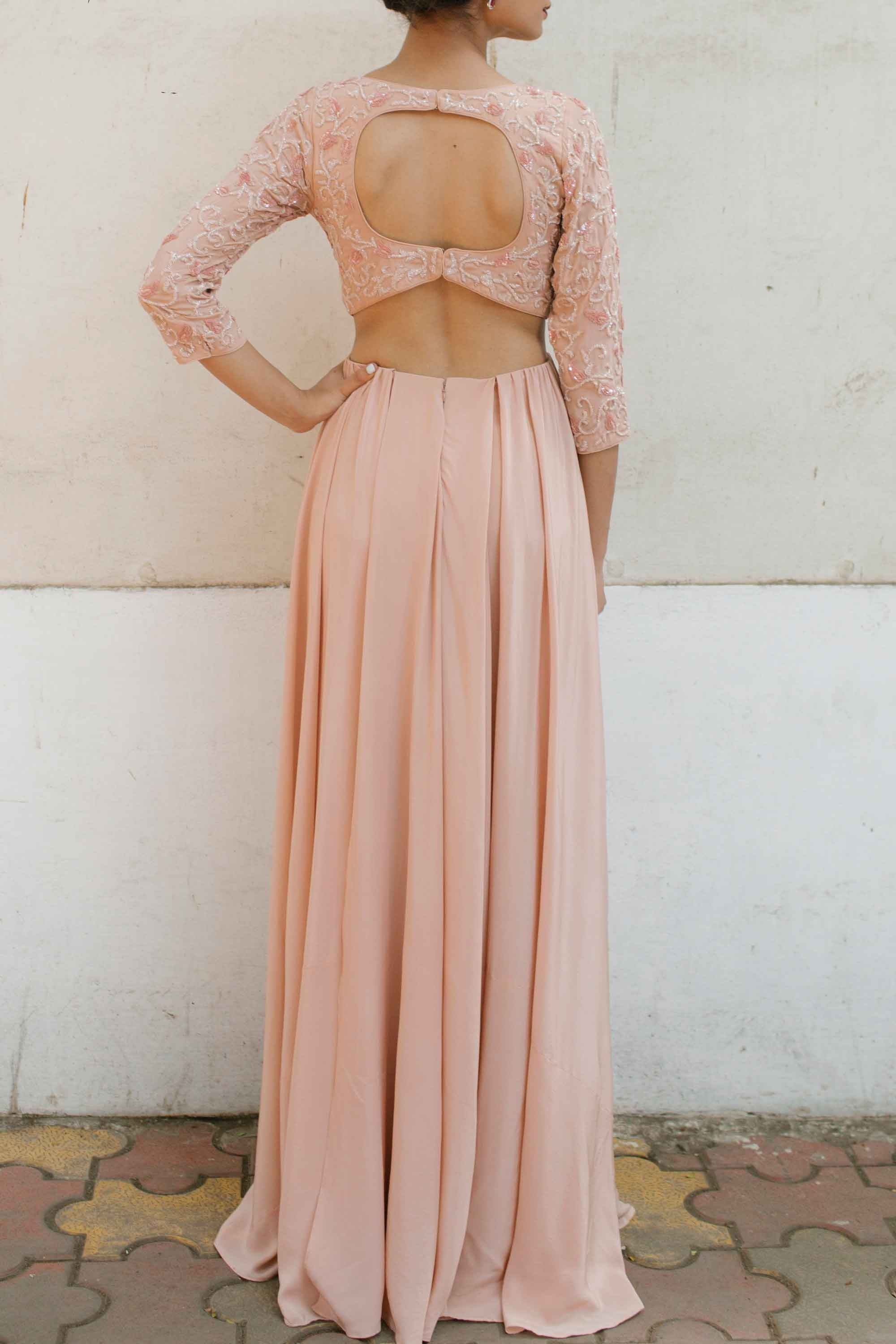 Blush Pink Silk Crepe Gown Back