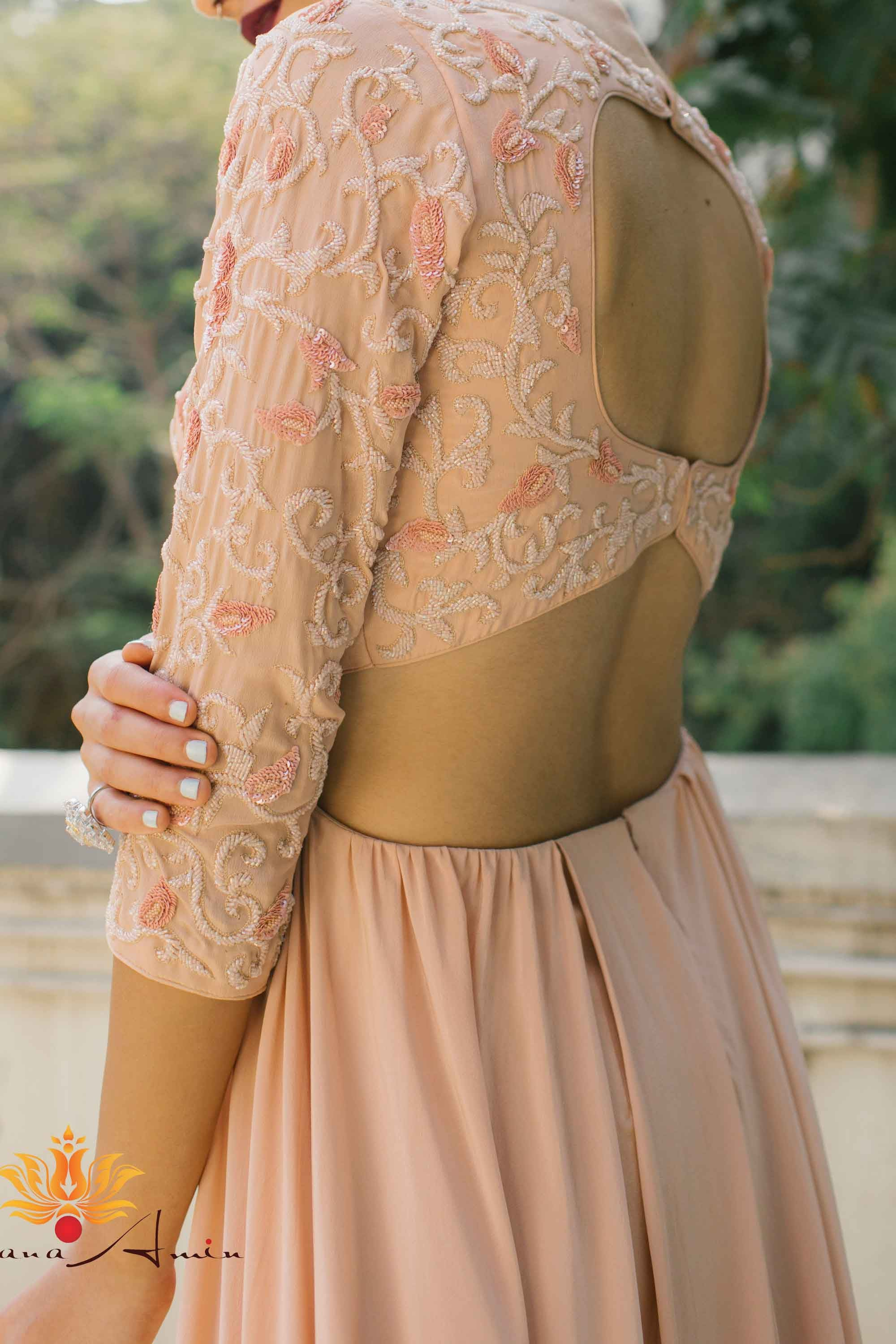 Blush Pink Silk Crepe Gown Side