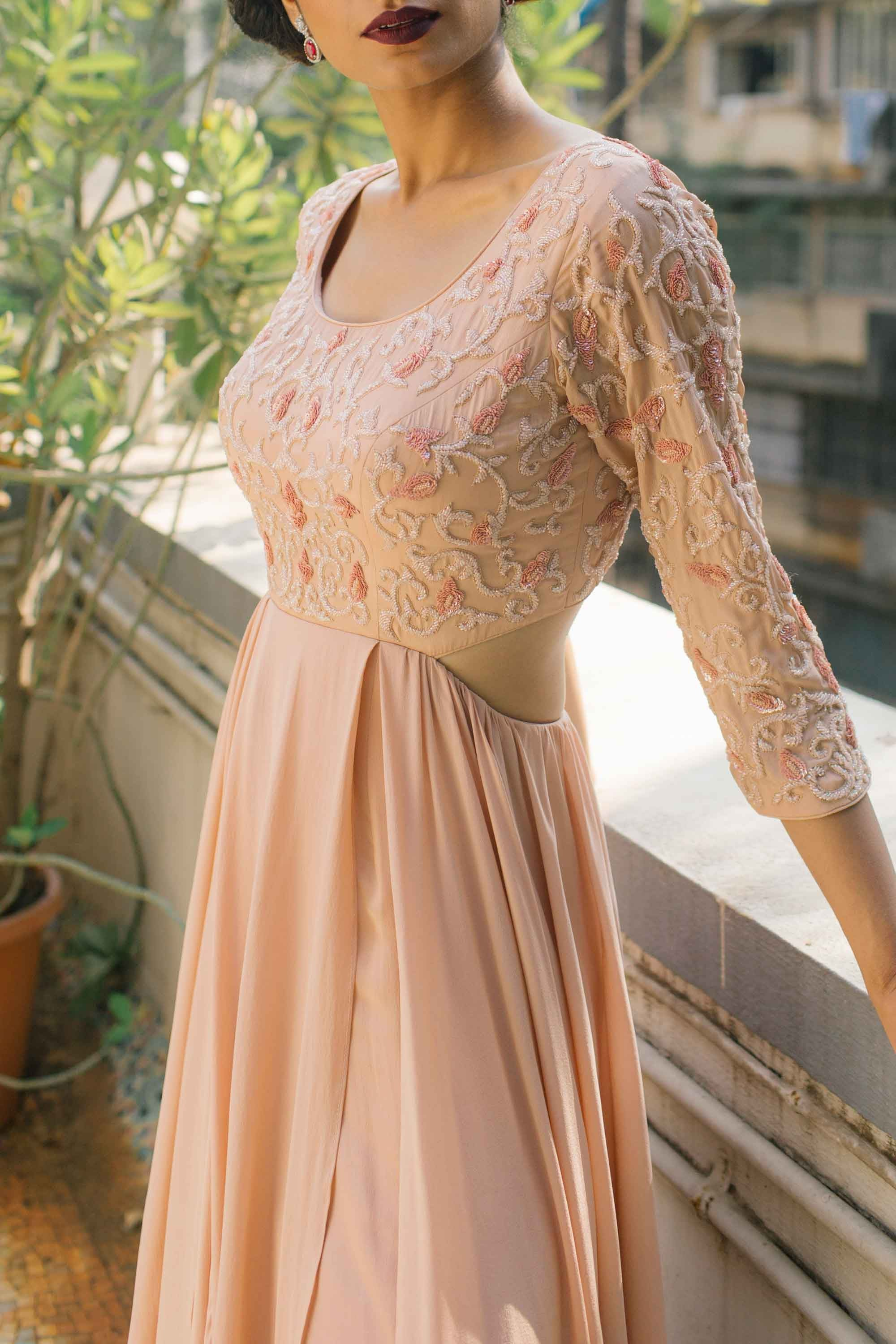 Blush Pink Silk Crepe Gown Side CloseUp
