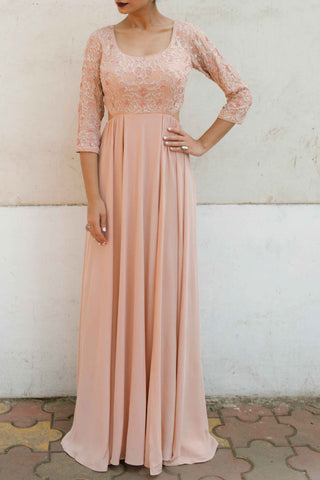 Blush Pink Silk Crepe Gown Front