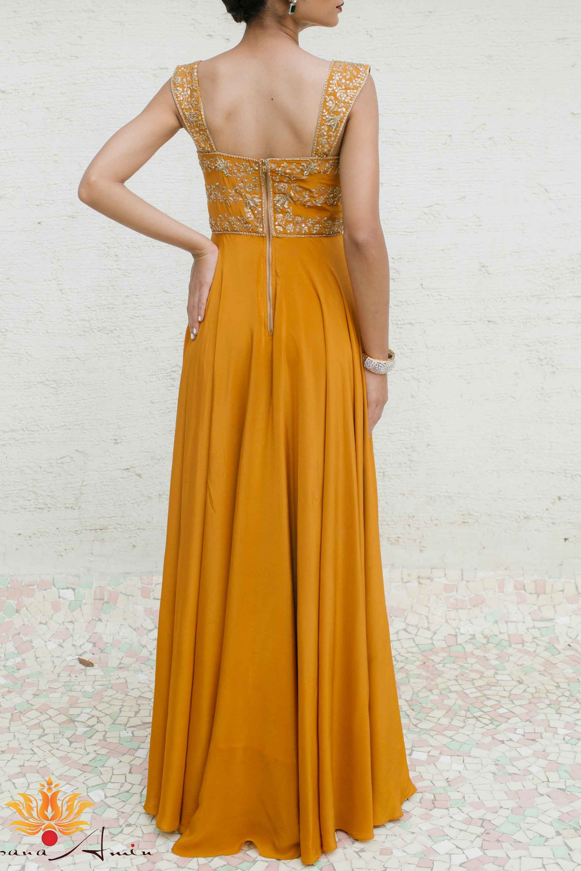 Mustard Gold Silk Crepe Gown Back