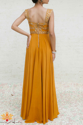 Mustard Gold Silk Crepe Gown