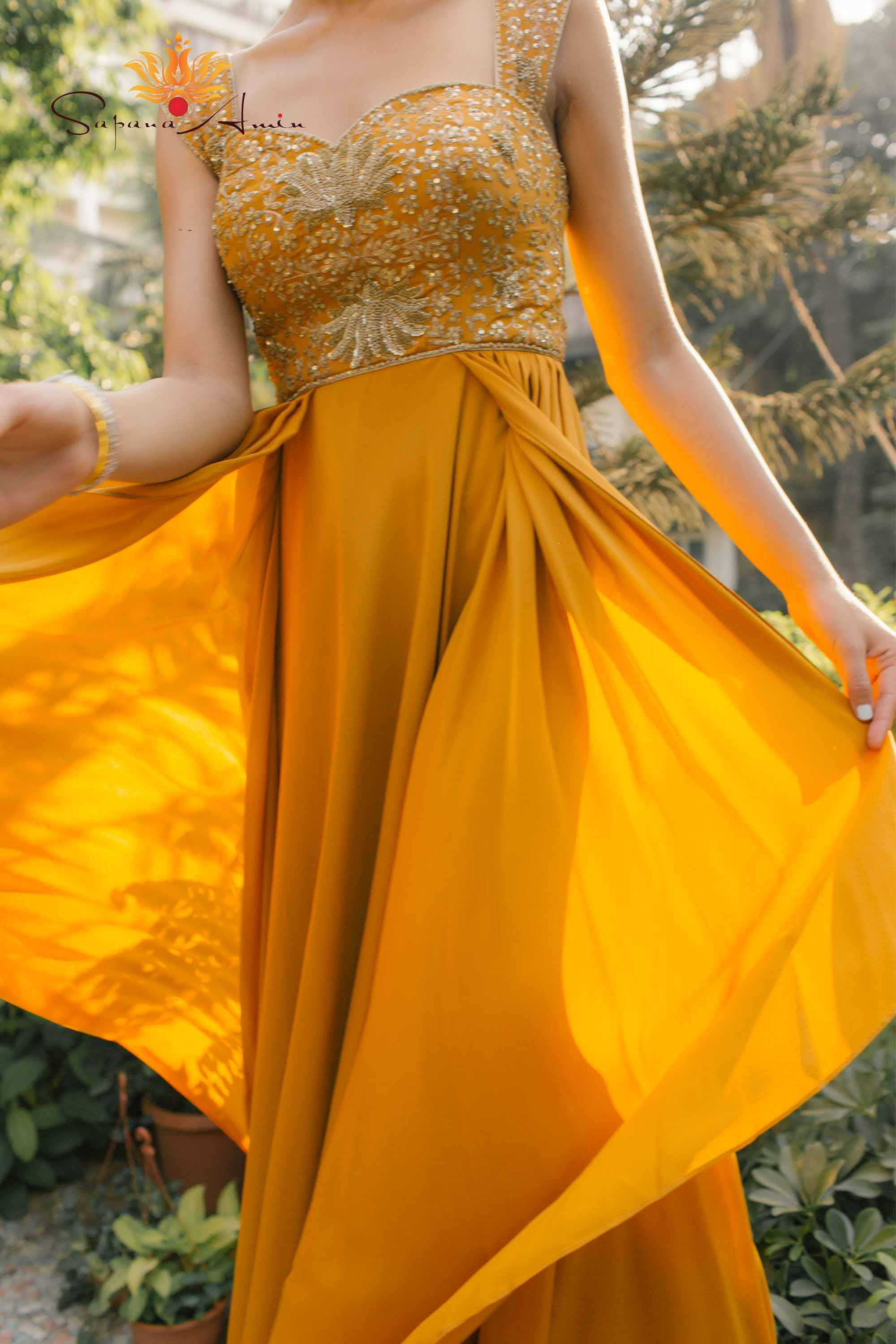 Mustard Gold Silk Crepe Gown Side