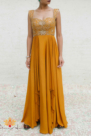 Mustard Gold Silk Crepe Gown Front