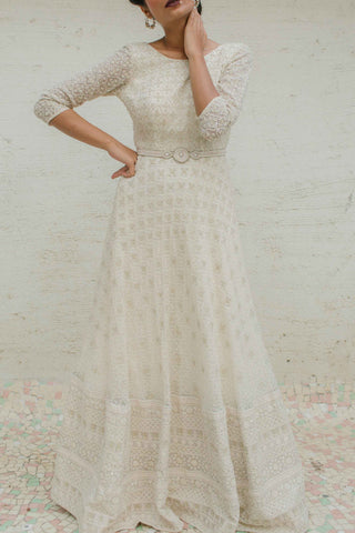 Ivory Hakoba Textured Gown Front