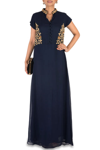 Midnight Blue Long Tunic Front
