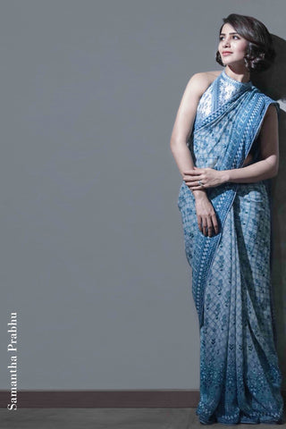 Blue Saarvini Saree As Seen On Samantha Prabhu