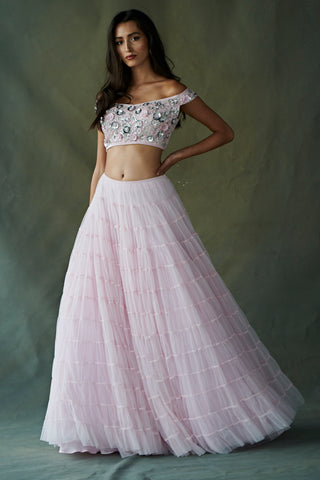 Light Pink Soft Net Tiered Lehenga