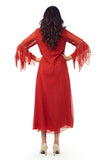 RED GOWN WITH FLARED SLEEVES BACK