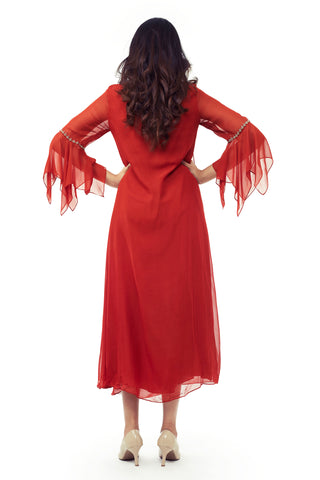 Red Gown With Flared Sleeves