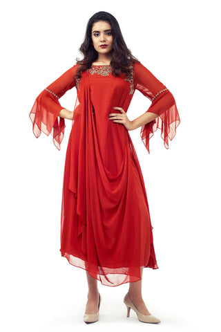 RED GOWN WITH FLARED SLEEVES FRONT