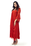RED GOWN WITH FLARED SLEEVES SIDE