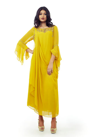 Ochre Yellow Cowl Dress FRONT