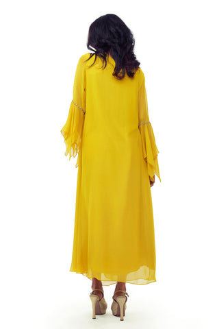 Ochre Yellow Cowl Dress