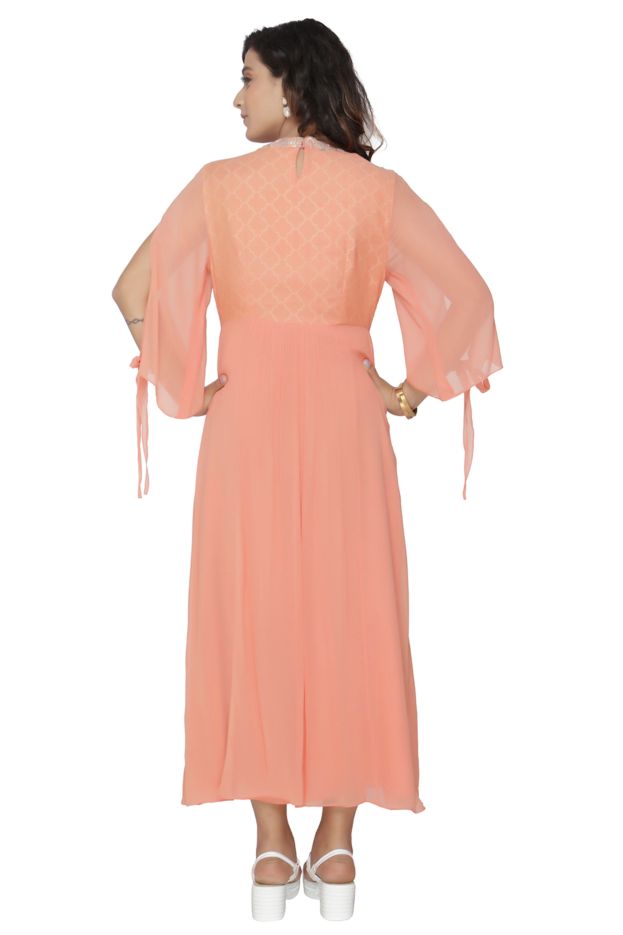 Peach Tunic With Bell Sleeves BACK